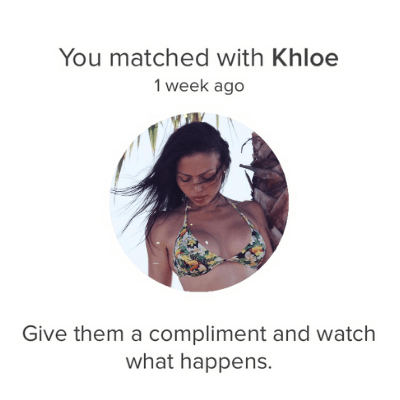 """new match screen, right before sending first message. Tinder giving suggestion of """"give them a compliment and watch what happens"""""""