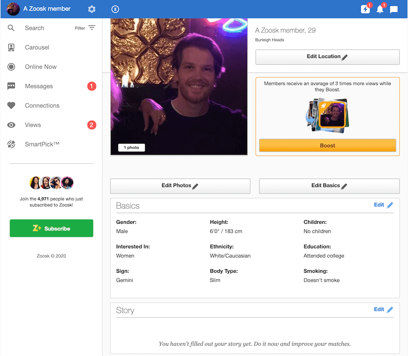 How Does Zoosk Work? My Profile