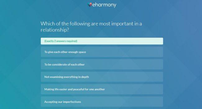 eHarmony vs Elite Singles - eHarmony Questionnaire