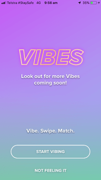 tinder vibes opening screen