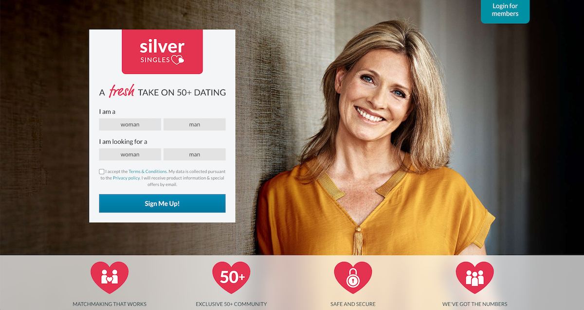 Silver Singles Review Main Sign Up Screen