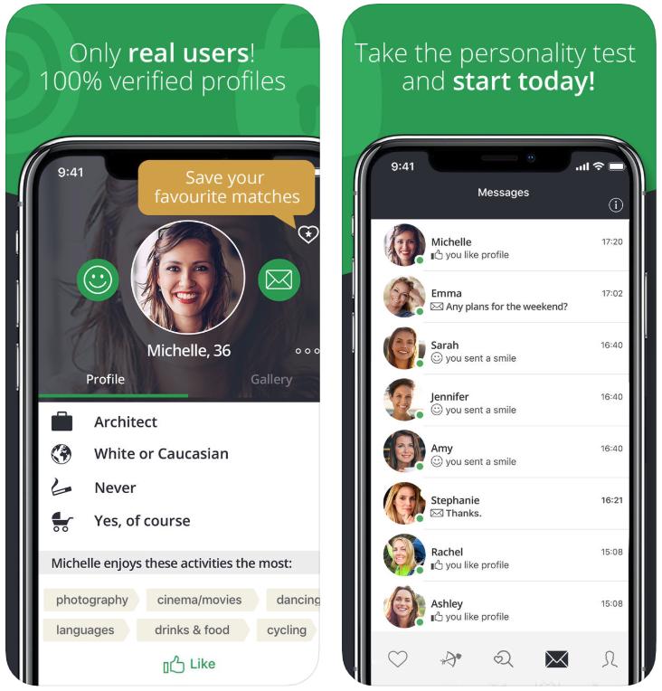 elite singles app demo screenshots conversations profile woman smiling