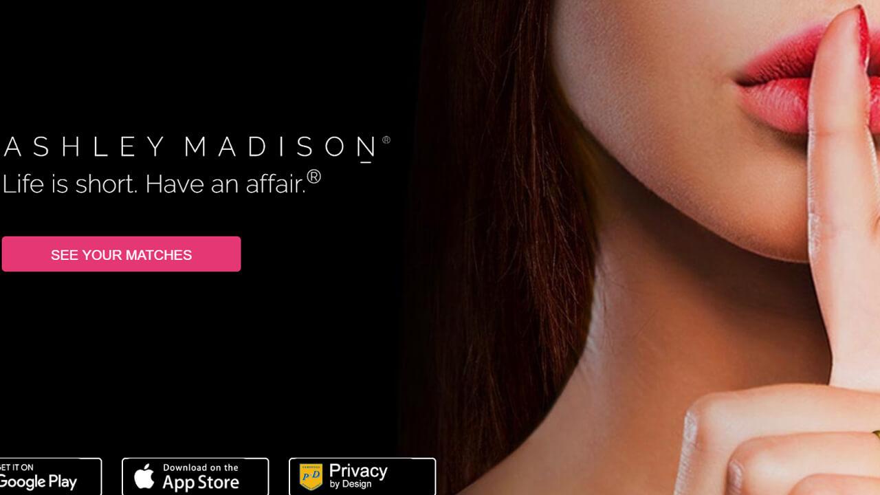 Ashley Madison Homepage Sign Up woman finger on lips, smiling, secret