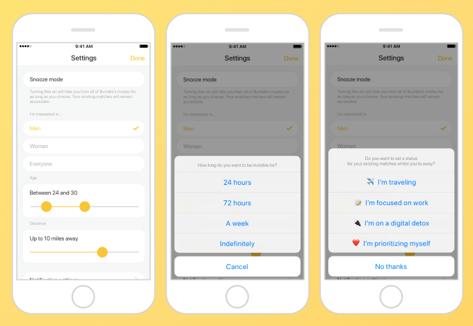 Can My Friends See Me On Bumble - Snooze Options