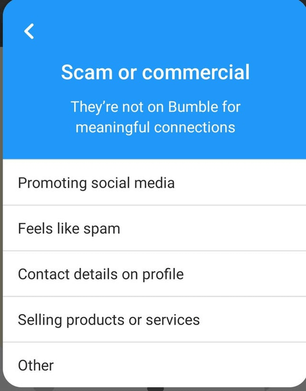 Can You Get Banned From Bumble - report commercial activity