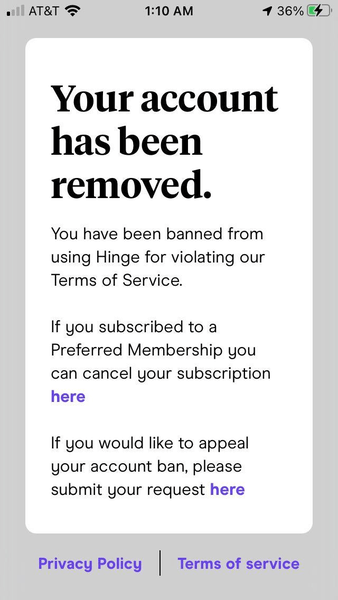 Is Reporting on Hinge Anonymous - banned on Hinge